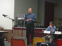 Speaking at a town hall forum