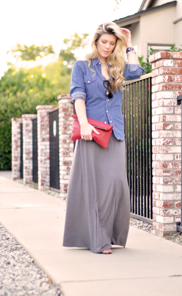 maxi dress - denim shirt - long hair-red leather bag