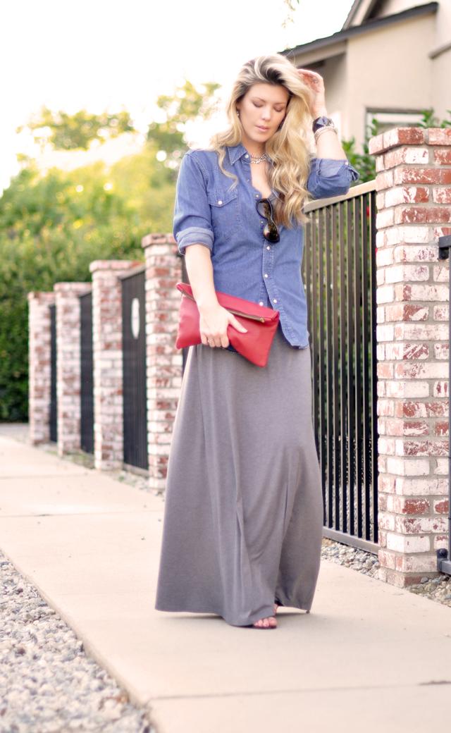 maxi dress - denim shirt - long hair-red leather bag