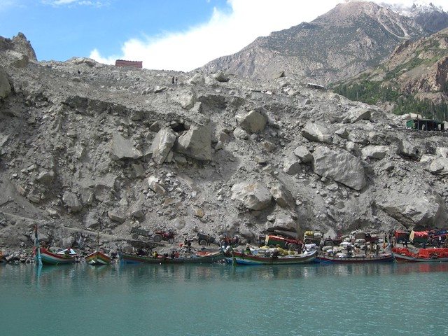 The landslide at the end of Attabad lake.
