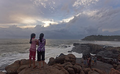 Sea, rocks & sunset (Sai Achanta) Tags: sunset sea india beach nature landscape kerala kovalam 24105mm 5dmarkii