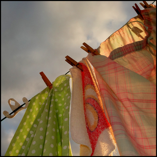 clothes line, backlit