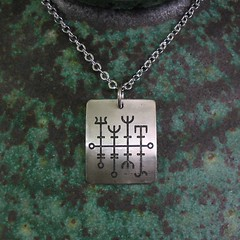 Viking Good Luck Necklace Heilla-Hntur - Stainless Steel (Tigers and Dragons) Tags: metal necklace stainlesssteel handmade jewelry jewellery viking eco etch pendant scandinavian rune goodluck icelandic norse tigersanddragons heilahunter