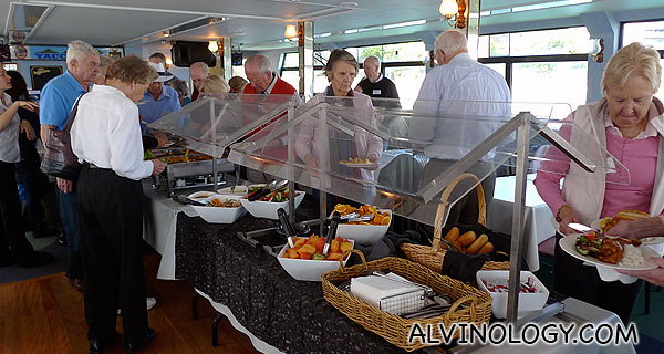 Buffet lunch onboard the cruise ship