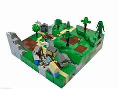 WarScape: Vol2; Chapter 2 of 5 (Blake's Baericks) Tags: houses people mountains grass coral river village lego path small tiny micro fields crops blake plowed baer microscale siercon