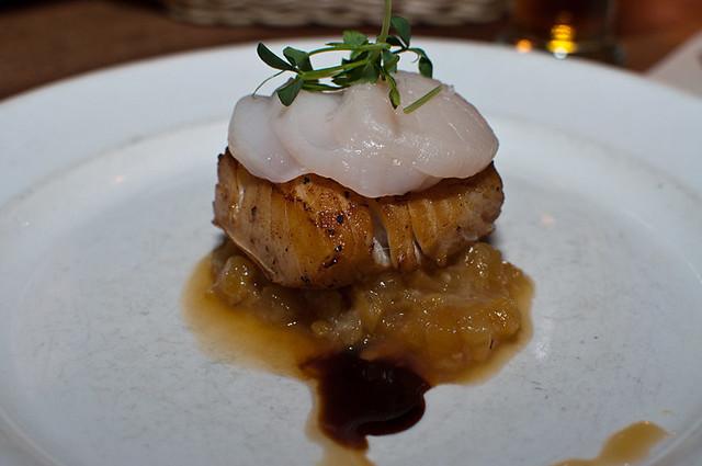 Pan seared marinated halibut, sashimi of sweet scallop, pineapple honey jam