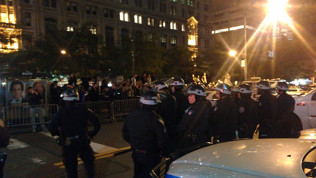 Riot police at Zuccotti #ows #occupywallstreet
