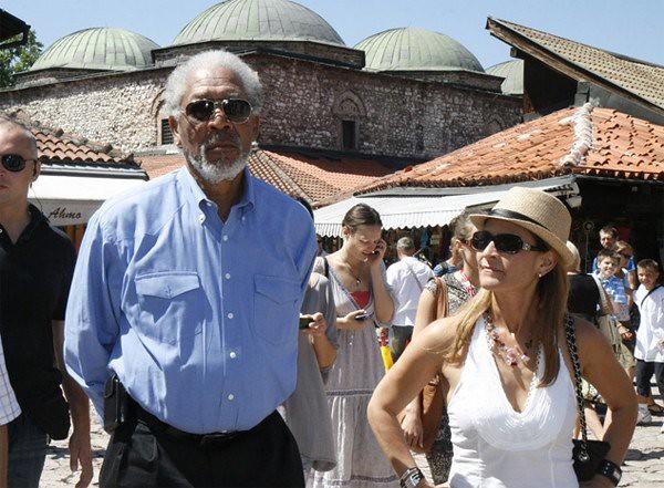 Bosnia & Hrzegovina: The U.S. actor Morgan Freeman in Sarajevo, on Baščaršija... Guest of the Sarajevo Film Festival 2010...