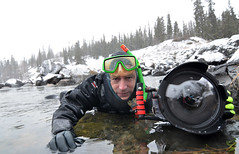 Me and my gear (Fish as art) Tags: winter portrait people snow canada cold river nikon photographer hiver working scuba adventure rivers hood diver nikkor northern snowfall fins yellowknife underwaterphotography dangerousjobs objektif underwaterhousing ikelite crazywork unterwasserfotografie undervannsfotografering paulvecsei undervattensfotografering winterscuba vzalattifotzs lensports ikelitefornikon