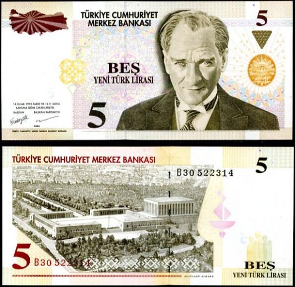 5 New Lira Turecko 2005, Pick 217