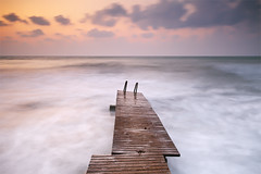 Little Pier at Sunrise (DavidFrutos) Tags: longexposure sea costa seascape beach water clouds sunrise landscape coast pier mar interestingness agua playa paisaje explore alicante amanecer filter le lee nubes c
