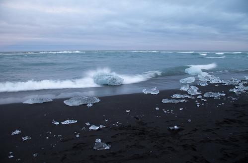 Ice like diamonds on the beach in rural Iceland