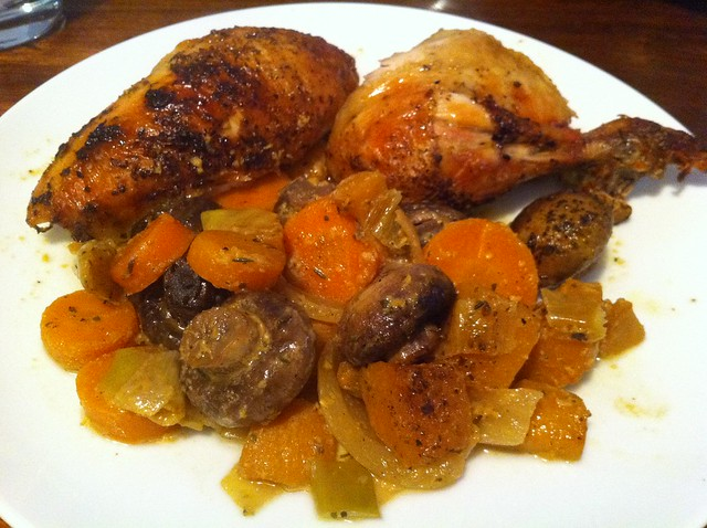 Roasted chicken with mustard marinade and winter vegetables