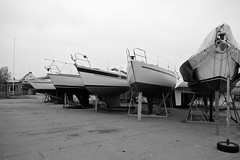 Boats waiting for spring (Jimmy Svensson) Tags: autumn bw fall boat sweden skane batar hoganas bat haganashamn