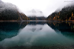 Mountains in the Fog (nawapa) Tags: china travel autumn mountain lake colour reflection water landscape nikon long view historic explore valley sichuan jiuzhaigou 2011 nanping nawapa