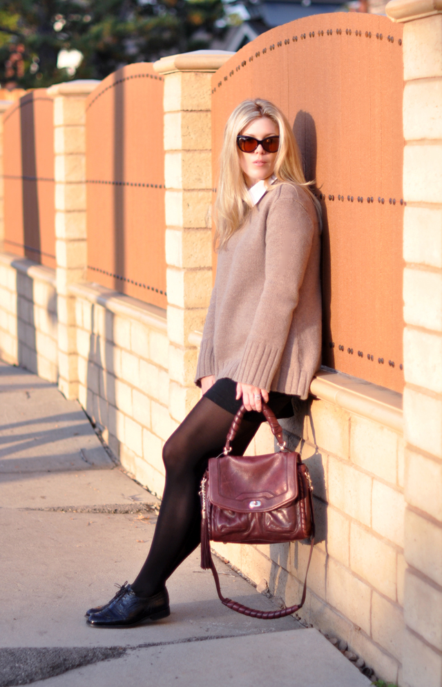 burgundy bag -cashmere sweater-sunglasses-tights and oxfords
