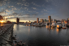 Inner Harbor Sunset (BrianMoranHDR) Tags: sunset sky water clouds boats worldtradecenter maryland baltimore fisheye hdr innerharbor hdrsoft topazlabs niksoftware colorefexpro3 canon5dmarkii viveza2 adobephotoshopcs5extended denoise5 silverefexpro2 photomatixpro402 canon815mmlfisheye