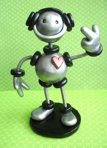 Robot Sculpture T-Bot DJ Robot by HerArtSheLoves