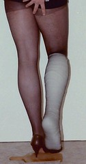 helennorthcoast - bandaged leg 06 (helennorthcoast) Tags: stockings highheels legs cd tights cast crutches bandage crossdresser splint sprain