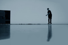 (atomareaufruestung) Tags: autumn shadow oktober man reflection berlin colors silhouette sport studio person october skateboarding herbst 360 skateboard jeffrey balance skateboarder bside 2011 360turn gettygermanyq4