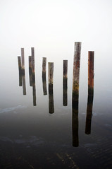 Weightless wood  Rob Watkins 2011 (Aland Rob) Tags: wood morning sea reflection water weather misty fog docks dead grey mirror harbor wooden still fuji shadows harbour gray bad like calm fujifilm posts compact aland mariehamn land x100 slemmern klinten wightless