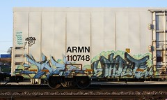 Sinek/Phrite (quiet-silence) Tags: railroad art train graffiti railcar unionpacific graff freight reefer phrite armn fr8 sinek wafact armn110748