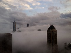 fog (dark below (street level)) and bright blue (above) sky - Chicago (doug.siefken) Tags: city sky usa chicago tower art weather fog skyline clouds dark illinois spring trump willis 4s iphone explored siefken dougsiefken iphoneography