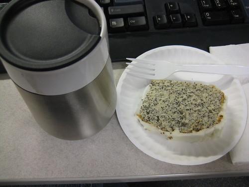 coffee, poppyseed cake