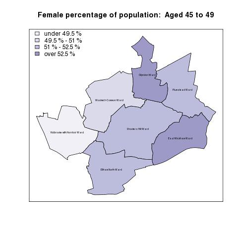 Female percentage of population:  Aged 45 to 49