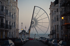half built brighton ferris wheel #2 (lomokev) Tags: road street sea cars car canon eos brighton half ferriswheel 5d bigwheel fairgroundride canoneos5d deletetag posted:to=tumblr file:name=111003eos5d0006