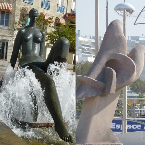La baigneuse d'Henri Murail et l'oiseau sur l'esplanade de la mer