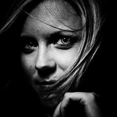 Aux heures noires des poètes (Christine Lebrasseur) Tags: paho people canon france art 500x500 allrightsreservedchristinelebrasseur saintloubes gironde fr ltytr1 theface herowinner ltytrx5 challengeyouwinner portrait woman blackandwhite 6x6 onblack 6102011 butterflylight