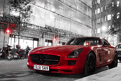 Red with Black. (Alex Penfold) Tags: auto street camera red black london cars alex sports car sport mobile night canon photography eos mercedes benz photo cool flickr shot image awesome flash picture super spot exotic photograph spotted hyper rims mayfair supercar spotting sls exotica sportscar amg sportscars supercars sav merc penfold curzon spotter 2011 hypercar 60d hypercars sl51 alexpenfold sl51sav