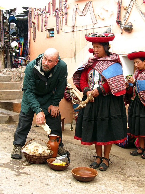 Weaving demonstration in Chinchero, Peru