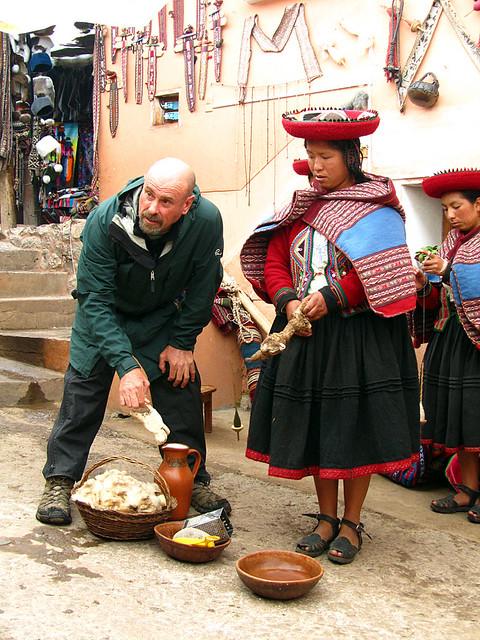 Weaving demonstration in Chinchero, Peru