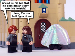 Visibility Cloak (Oky - Space Ranger) Tags: girls funny lego harry potter ron restroom cloak hogwarts lavatory hermione visibility licensed invisibility