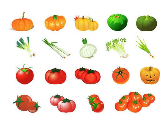 Calabaza, Cebolla, Cebolleta y Tomate en Vector