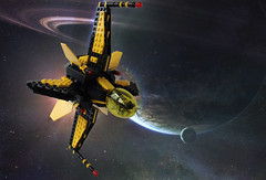 Blacktron FWAM - Title (.Jake) Tags: yellow wings lego space spaceship swoosh blacktron
