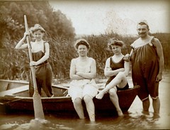 the boat people (unexpectedtales) Tags: old costumes white black strange swim vintage wonderful found weird photo suits shot image antique snapshot surreal snap photograph 1900 vernacular unusual bathing enigmatic peculiar unexpectedtales swimmingsnap