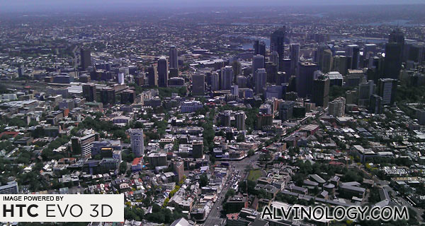 Helicopter view of Sydney city