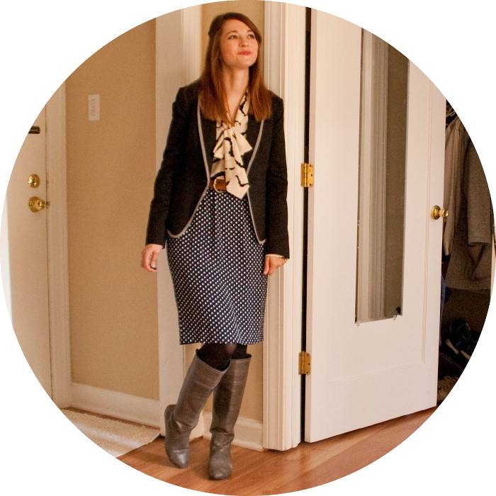 pattern mixing, how to, outfit blog, dashdotdotty, dotty, dots, zebra, thrifted, work, business casual, boots for fall