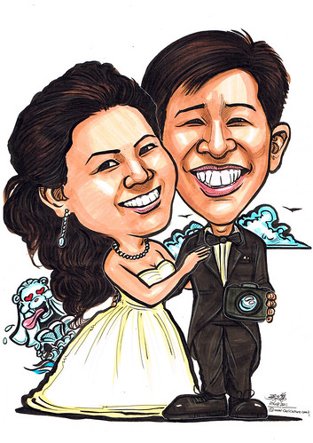 Wedding couple caricatures @ Merlion