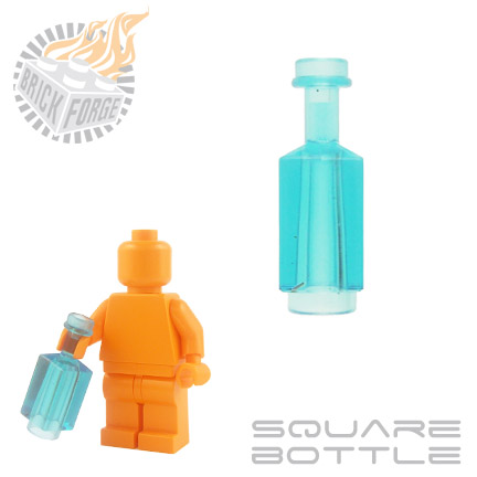 Square Bottle - Trans Light Blue