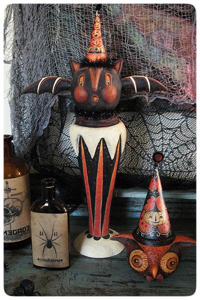Bat-Vase-&-Owl
