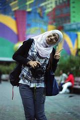 crayon (i.am.syahir) Tags: old slr art girl smile night analog 50mm still asia natural kodak hijab malaysia kualalumpur analogue manual potrait kl manualfocus lumpur potraiture konicaminolta rokkor rokkor50mmf14