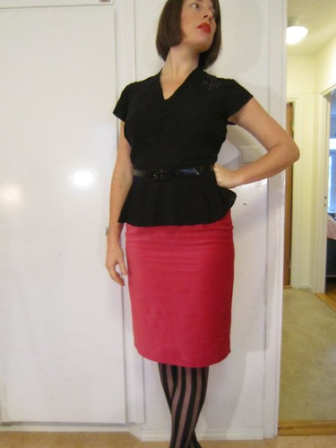 40´s blouse and velvet pencil skirt