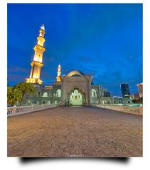 Here by Myself. (Amirul Arif) Tags: blue building heritage architecture landscape nikon cityscape minaret islam religion culture tokina1224 mosque hour malaysia dome kuala hdr masjid lumpur noob wilayah persekutuan vertorama