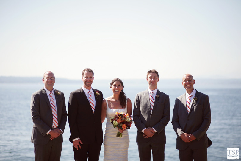 Bride and Groomsmen at the Ocean