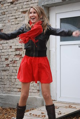 jumping up (jennymckaysfashionandmusic) Tags: red music brown sunglasses leather fashion lunch king break mckay dress jenny jacket goran stefanovic