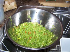 green tomatoes, peppers, chopped, relish, draining, colander